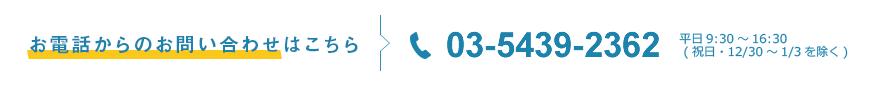 お電話でのお問い合わせは03-5439-2365